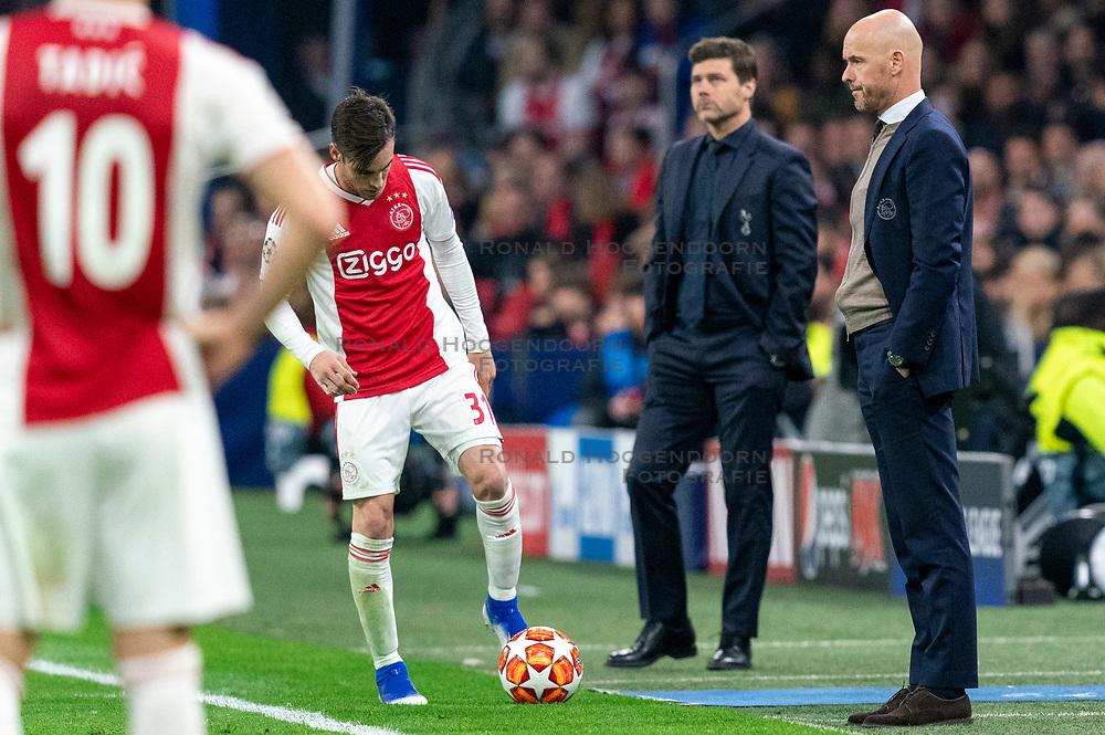 08-05-2019 NED: Semi Final Champions League AFC Ajax - Tottenham Hotspur, Amsterdam<br /> After a dramatic ending, Ajax has not been able to reach the final of the Champions League. In the final second Tottenham Hotspur scored 3-2 / Coach Erik ten Haf of Ajax<br /> , Nicolas Tagliafico #31 of Ajax