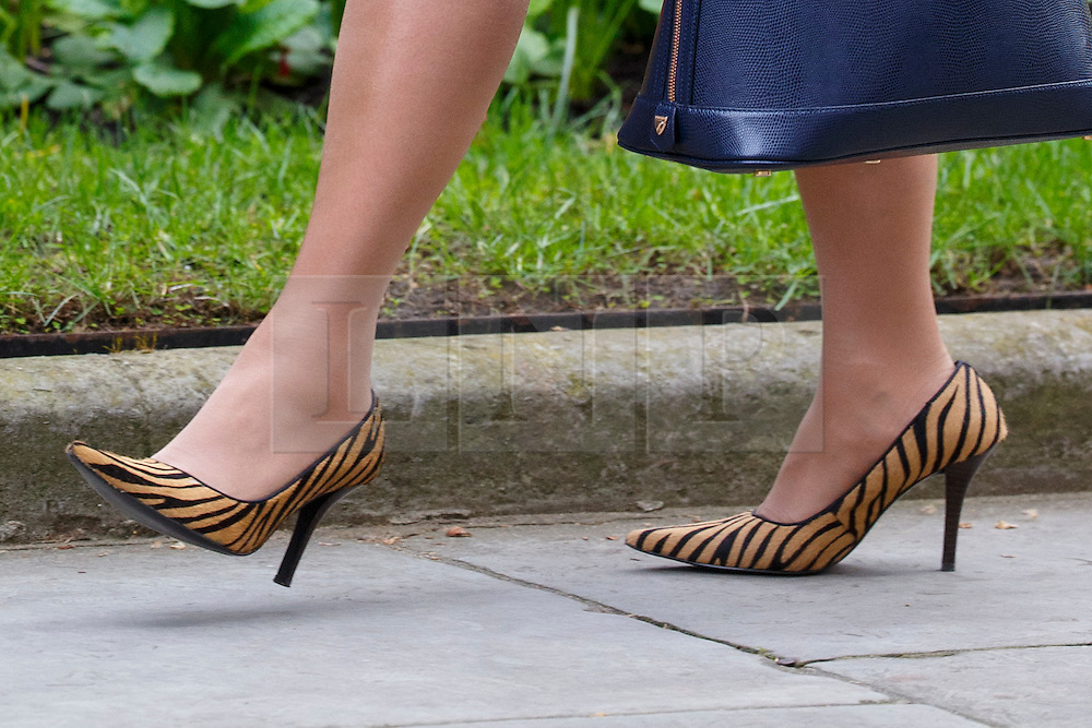 © Licensed to London News Pictures. 19/04/2016. London, UK. Shoes of Minister of State for Employment PRITI PATEL photographed whilst attending a cabinet meeting in Downing Street on Tuesday, 19 April 2016. Photo credit: Tolga Akmen/LNP