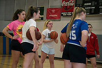 Morgan Hall, Chloe Sottak, Elaina Hoey, Katie Galambos, Isabella McDonald and McKenzie Donovan listening as Erica Knolhoff begins their practice Tuesday afternoon at Belmont High School.  (Karen Bobotas/for the Laconia Daily Sun)