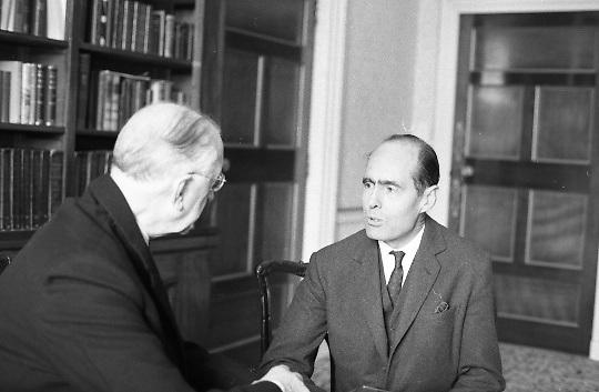 Group Captain Leonard Cheshire, famous World War hero and founder of the Cheshire Homes, visits President Eamon De Valera at Áras an Uachtarain..13.10.1967