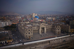 A cityscape of downtown Lima, Peru.