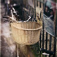 Street scene with bikes in the university city of Cambridge, England