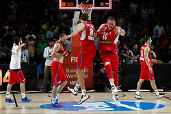 12.09.2014, City Arena, Madrid, ESP, FIBA WM, Frankreich vs Serbien, Halbfinale, im Bild Serbia´s Bjelica and Stimac\ (R) celebrate // during FIBA Basketball World Cup Spain 2014 semifinal match between France and Serbia at the City Arena in Madrid, Spain on 2014/09/12. EXPA Pictures © 2014, PhotoCredit: EXPA/ Alterphotos/ Victor Blanco<br /> <br /> *****ATTENTION - OUT of ESP, SUI*****