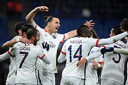 09.03.2016, Stamford Bridge, London, ENG, UEFA CL, FC Chelsea vs Paris Saint Germain, Achtelfinale, Rueckspiel, im Bild motta thiago, di maria angel, lucas moura, ibrahimovic zlatan, matuidi blaise, marquinhos, rabiot adrien // during the UEFA Champions League Round of 16, 2nd Leg match between FC Chelsea vs Paris Saint Germain at the Stamford Bridge in London, Great Britain on 2016/03/09. EXPA Pictures © 2016, PhotoCredit: EXPA/ Pressesports/ LAHALLE PIERRE<br /> <br /> *****ATTENTION - for AUT, SLO, CRO, SRB, BIH, MAZ, POL only*****