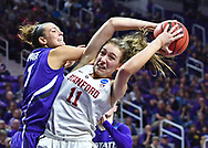 Alanna Smith #11 of the Stanford Cardinal grabs a rebound against Lanie Page #3 of the Kansas State Wildcats during the second round of the 2017 NCAA Women's Basketball Tournament at Bramlage Coliseum in Manhattan, Kansas.