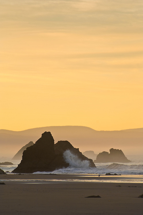 Sunrise at Harris Beach State Park, southern Oregon coast.