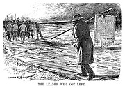 The Leader Who Got Left. (cartoon showing Miners' Federation leader Arthur James Cook walking alone behind the miners with a Follow Your Leader - By Order - A J Cook banner as they return to work during the InterWar era)