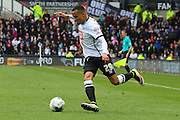 Derby defender Marcus Olsson puts in a long-ball pass during the Sky Bet Championship match between Derby County and Bolton Wanderers at the iPro Stadium, Derby, England on 9 April 2016. Photo by Aaron  Lupton.