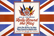 World War I 1914-1918 British recruitment poster. 'Men of the Empire! Rally Round the Flag ......'.  Trophy of flags of the allies against the backdrop of the British flag.