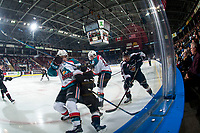 KELOWNA, CANADA - FEBRUARY 7:  Dillon Dube #19 ad Leif Mattson #28 of the Kelowna Rockets are checked in the corner by players of the Vancouver Giants on February 7, 2018 at Prospera Place in Kelowna, British Columbia, Canada.  (Photo by Marissa Baecker/Shoot the Breeze)  *** Local Caption ***