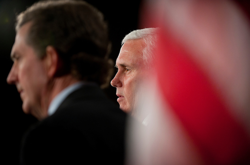 "Dec 2, 2010 - Washington, District of Columbia, Senator. JIM DEMINT, (R-SC) and House Republican Conference Chairman MIKE PENCE, (R-IN) (CENTER) hold a news conference to discuss the ""Tax Relief Certainty Act,"" a bill that would ""permanently extend the current individual tax rates and prevent tax increases on every American."" (Credit Image: © Pete Marovich/ZUMA Press)"