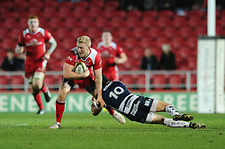 Ulster Outside Centre Stuart Olding (captain) is tackled by Bristol Rugby Fly-Half Matthew Morgan - Mandatory byline: Dougie Allward/JMP - 22/01/2016 - RUGBY - Ashton Gate -Bristol,England - Bristol Rugby v Ulster Rugby - B&I Cup