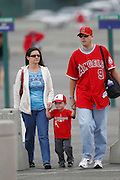 ANAHEIM, CA - MAY 08:  A mother, father, and their young son attend the Mother's Day game between the Cleveland Indians and the Los Angeles Angels of Anaheim on Sunday, May 8, 2011 at Angel Stadium in Anaheim, California. The Angels won the game 6-5. (Photo by Paul Spinelli/MLB Photos via Getty Images)
