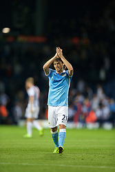 WEST BROMWICH, ENGLAND - Monday, August 10, 2015: Manchester City's David Silva applauds the supporters after his side's 3-0 victory over West Bromwich Albion during the Premier League match at the Hawthorns. (Pic by David Rawcliffe/Propaganda)
