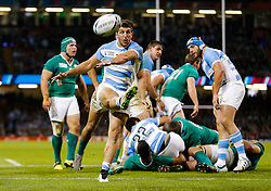 Argentina replacement Tomas Cubelli kicks the ball out of play - Mandatory byline: Rogan Thomson/JMP - 07966 386802 - 18/10/2015 - RUGBY UNION - Millennium Stadium - Cardiff, Wales - Ireland v Argentina - Rugby World Cup 2015 Quarter Finals.