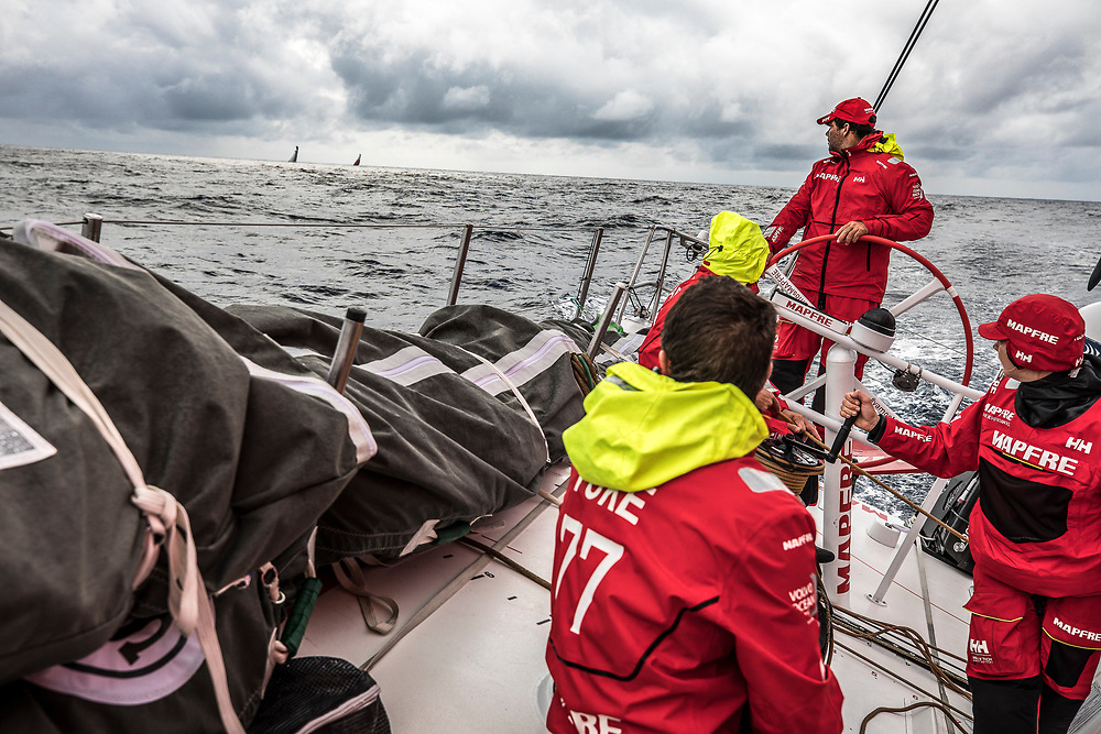 Leg 6 to Auckland, day 04 on board MAPFRE, the crew looking at the battle betwen Brunel and Dongfeng. 10 February, 2018.