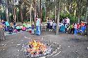 The Jewish holiday of Lag Beomer by a bonfire