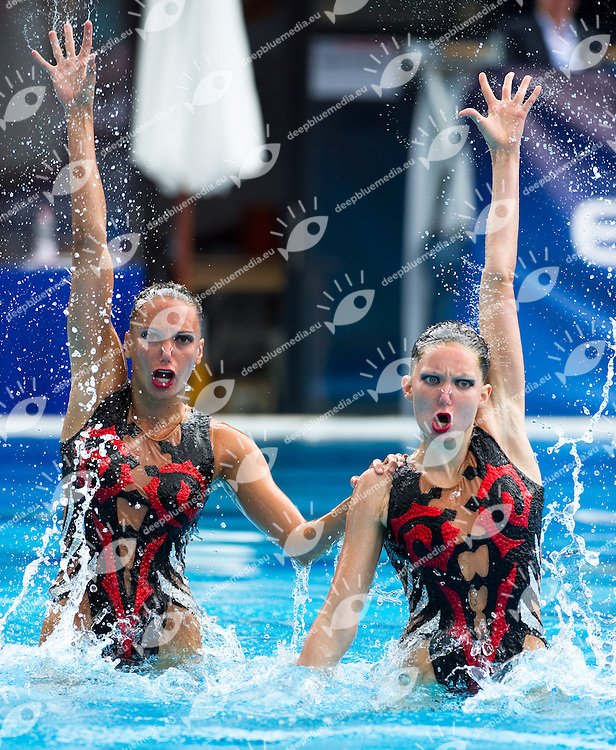 Budapest European Championships 2010.in Swimming, Diving, Synchronised Swimming, Open Water Swimming.Day 5.Syncro Duet Free Routine Final..photo: Deepbluemedia.eu