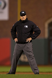 SAN FRANCISCO, CA - APRIL 14:  MLB umpire Mike DiMuro #16 stands on the field during the eighth inning between the San Francisco Giants and the Colorado Rockies at AT&T Park on April 14, 2015 in San Francisco, California.  The Colorado Rockies defeated the San Francisco Giants 4-1. (Photo by Jason O. Watson/Getty Images) *** Local Caption *** Mike DiMuro