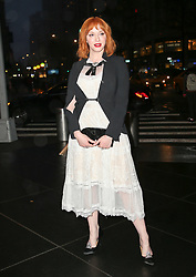 Christina Hendricks seen arriving at the Brooks Brothers Bicentennial Celebration in New York City. 25 Apr 2018 Pictured: Christina Hendricks. Photo credit: ZapatA/MEGA TheMegaAgency.com +1 888 505 6342