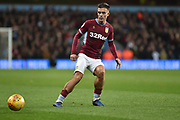 Aston Villa midfielder Jack Grealish (10) looks to release the ball during the EFL Sky Bet Championship match between Aston Villa and Nottingham Forest at Villa Park, Birmingham, England on 28 November 2018.