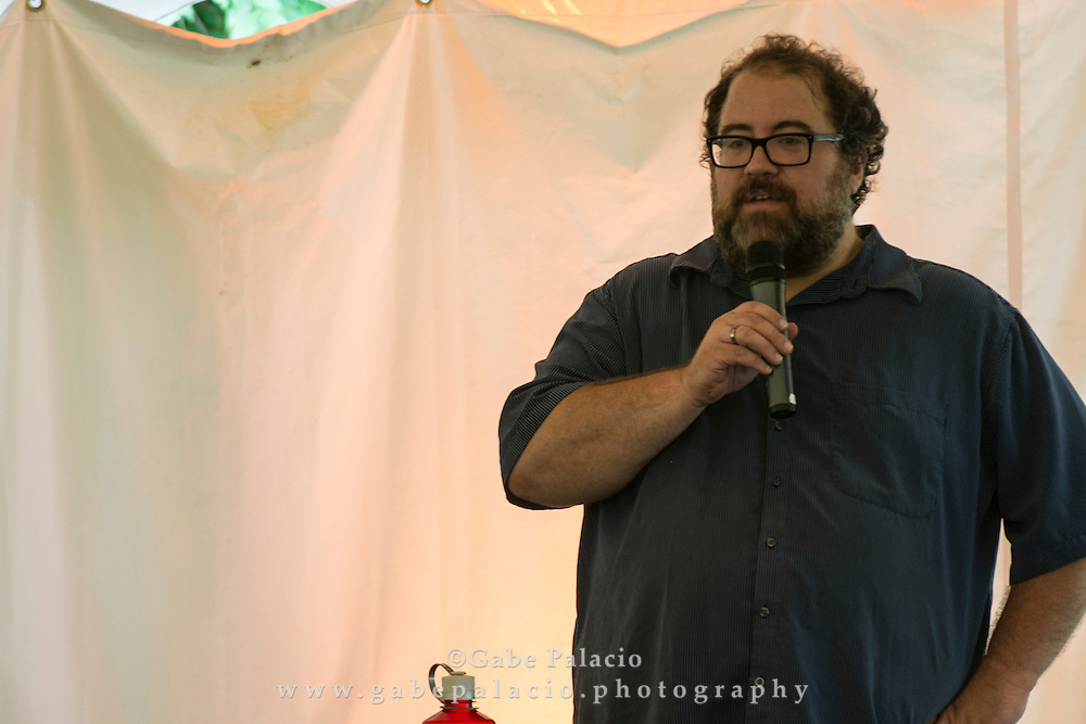 Stephan Moore, sound artist and curator,  at the Sonic Delights Festival celebrating the In the  Garden of Sonic Delights sound art exhibition at Caramoor in Katonah New York on July 20, 2014. <br /> (photo by Gabe Palacio)