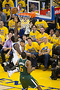 Golden State Warriors forward Draymond Green (23) attacks the basket against the Utah Jazz during Game 1 of the Western Conference Semifinals at Oracle Arena in Oakland, Calif., on May 2, 2017. (Stan Olszewski/Special to S.F. Examiner)