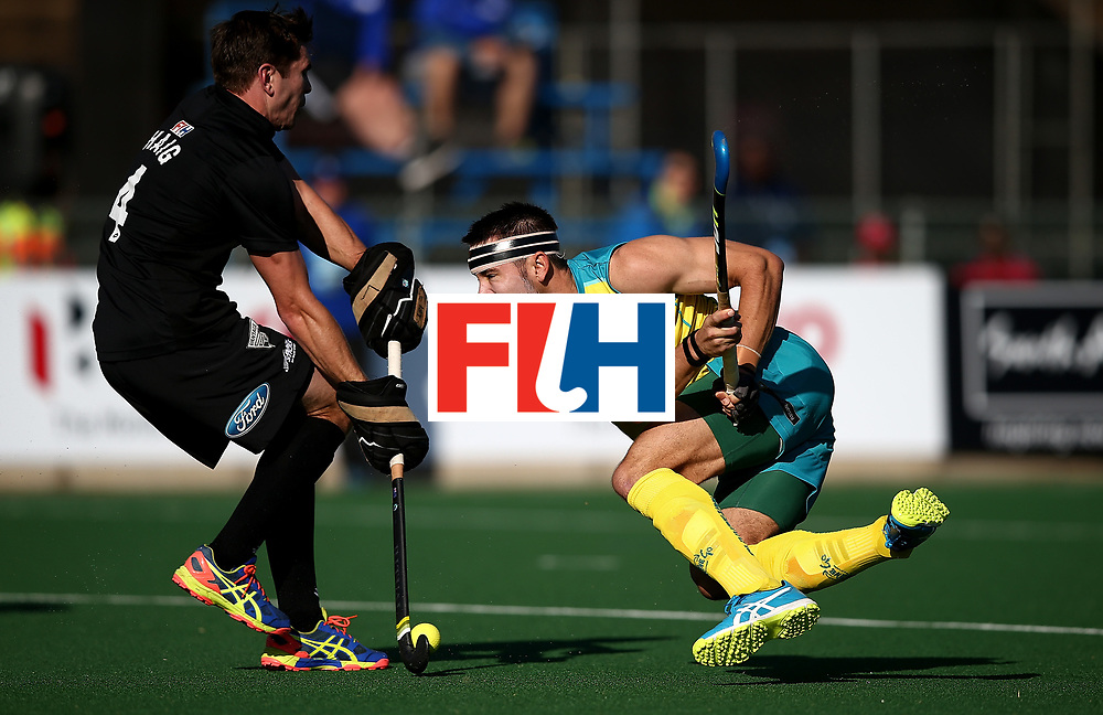 JOHANNESBURG, SOUTH AFRICA - JULY 15:  Jeremy Hayward of Australia has his shot at goal blocked by Nick Haig of New Zealand during day 4 of the FIH Hockey World League Men's Semi Finals Pool A match between New Zealand and Australia at Wits University on July 15, 2017 in Johannesburg, South Africa.  (Photo by Jan Kruger/Getty Images for FIH)