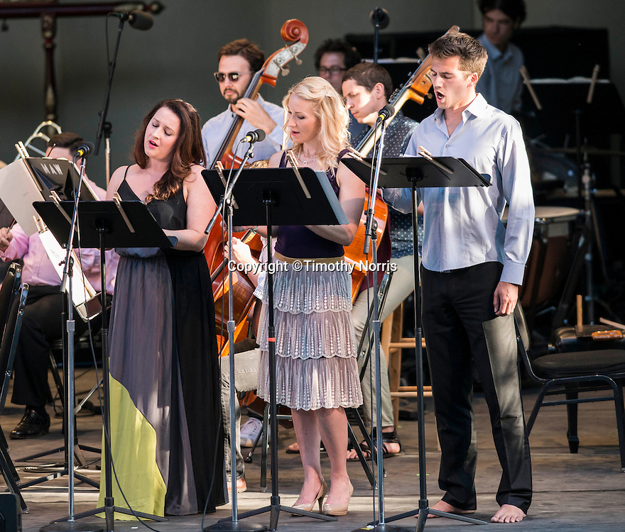 Soparno Yulia Van Doren, mezzo-soprano Jamie Van Eyck and bass-baritone Douglas Williams perform with the MMDG Music Ensemble at Libbey Bowl on June 9, 2013 in Ojai, California.