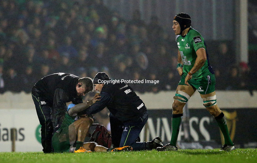 Guinness PRO12, Sportsground, Galway 9/1/2015<br /> Connacht vs Edinburgh<br /> Connacht's Bundee Aki injured<br /> Mandatory Credit &copy;INPHO/James Crombie