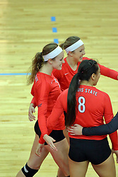 28 September 2014:  Jaelyn Keene, Kaitlyn Early and Stacey Niao during an NCAA womens volleyball match between the Evansville Purple Aces and the Illinois State Redbirds at Redbird Arena in Normal IL