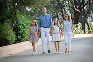 Palma de Mallorca, 04-08-2016<br /> <br /> Photo session with King Felipe and Queen Letizia and their daughters Princess Leonore and Princess Sofia in the Garden of the Marivent Palace.<br /> <br /> <br /> Royalportraits Europe/Bernard Ruebsamen