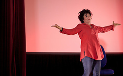 "© Licensed to London News Pictures . 11/08/2013 . London, UK. American comedian Ruby Wax performs her stand-up show ""Out Of Her Mind"" at the Shuffle festival in St Clement's Social Club. Among other entartainment, Shuffle presents a film festival curated by British director Danny Boyle during 11 days at the old Victorian psychiatric hospital St Clement's, Mile End, east London. Photo credit : /LNP"