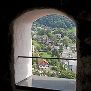 View from tower window in Castle or Schloss Thun of the city of Thun, Switzerland<br />
