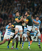 London, Great Britain,     left Eben ETZBETH and right, Duane VERMEULEM, jump to collect the ball, during the South Africa vs Argentina. 2015 Rugby World Cup, Bronze Medal Match.Queen Elizabeth Olympic Park. Stadium, Stratford. East London. England,, Friday  30/10/2015. <br /> [Mandatory Credit; Peter Spurrier/Intersport-images]