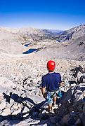 Climber on the approach to Bear Creek Spire, John Muir Wilderness, Sierra Nevada Mountains, California