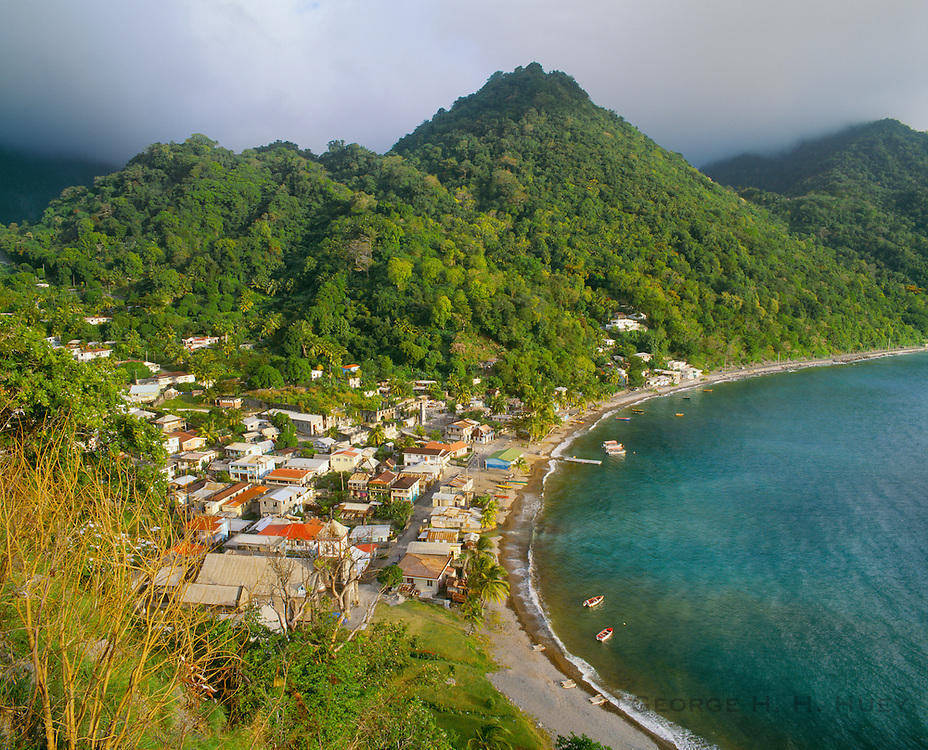 6203-1033 ~ Copyright:  George H. H. Huey ~ The village of Soufriere [named for nearby sulfur springs], on the southwest coast of Dominica.  Windward Islands, Lesser Antilles.  Caribbean.