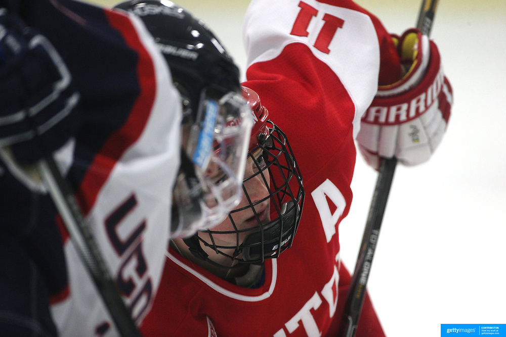Dakota Woodworth, Boston University, prepares for a face-off during the UConn Vs Boston University, Women's Ice Hockey game at Mark Edward Freitas Ice Forum, Storrs, Connecticut, USA. 5th December 2015. Photo Tim Clayton