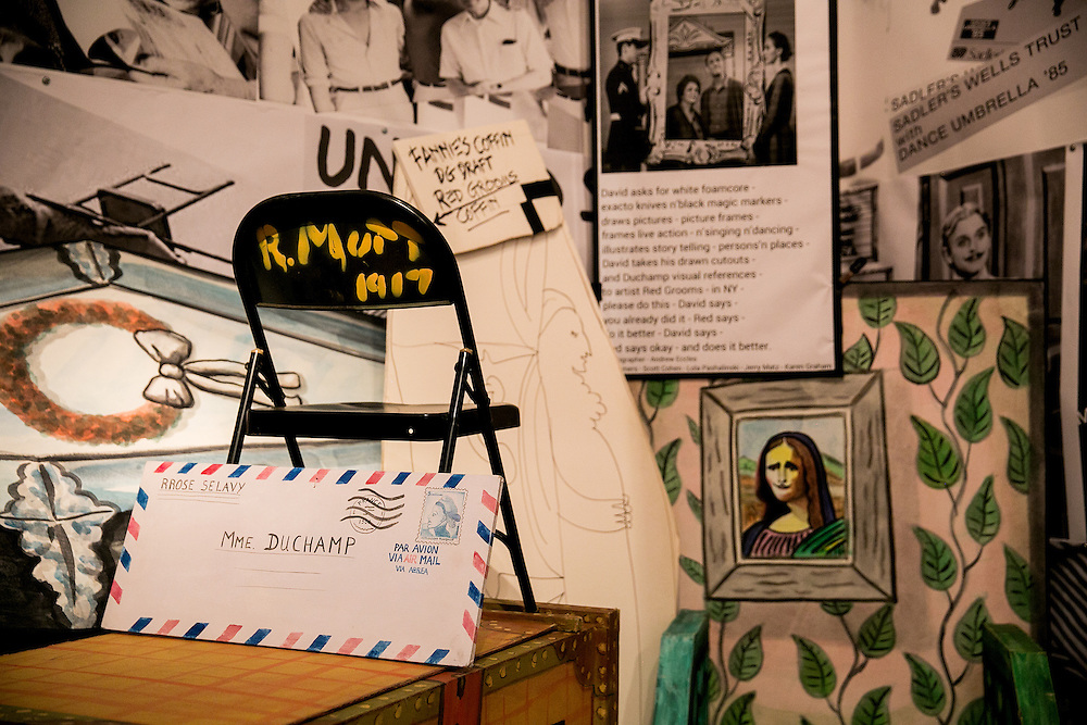 NEW YORK, NY - DECEMBER 27, 2016: Various items from his work make up the instillation PILE UP - The Mysteries and What's So Funny? - 1990, in director and choreographer David Gordon's retrospective instillation  DAVID GORDON: ARCHIVEOGRAPHY - Under Construction at The New York Public Library for the Performing Arts at Lincoln Center in New York, New York. CREDIT: Sam Hodgson for The New York Times.