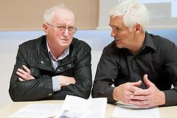 Viktor Krevsel and Rudi Hiti during Sportforum discussion about problems of ice-hockey at Jesenice, on April 23, 2013, in Gornjesavski muzej - Kolpern, Jesenice, Slovenia. (Photo By Vid Ponikvar / Sportida.com)