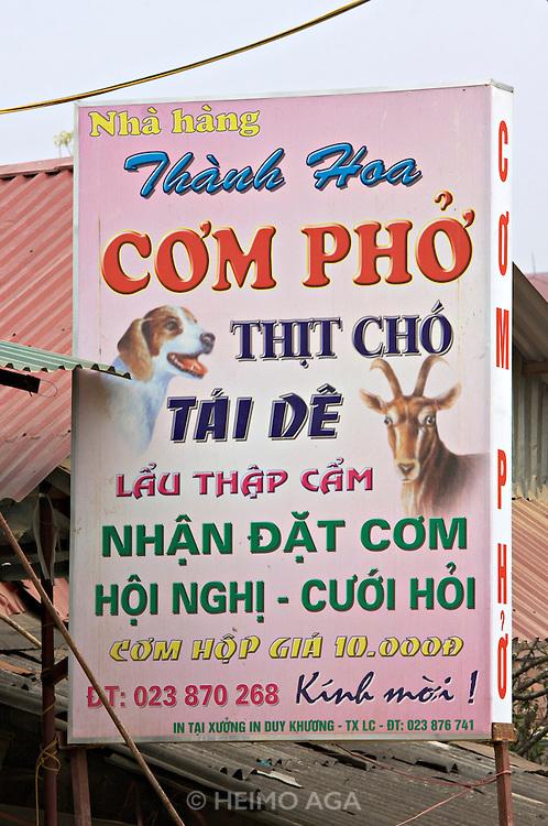 Pho restaurant serving dog and goat meet.
