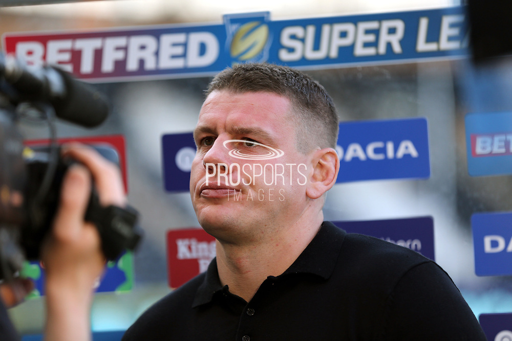 Hull FC Head Coach Lee Radford pre match interview prior to the Betfred Super League match between Hull FC and Leeds Rhinos at Kingston Communications Stadium, Hull, United Kingdom on 19 April 2018. Picture by Mick Atkins.