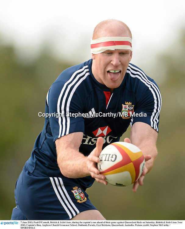 7 June 2013; Paul O'Connell, British & Irish Lions, during the captain's run ahead of their game against Queensland Reds on Saturday. British & Irish Lions Tour 2013, Captain's Run, Anglican Church Grammar School, Oaklands Parade, East Brisbane, Queensland, Australia. Picture credit: Stephen McCarthy / SPORTSFILE