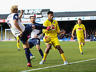 Adam Thompson of Southend clears the ball under pressure from Reuben Reid of Plymouth Argyle (right) during the Sky Bet League 2 match at Roots Hall, Southend<br /> Picture by David Horn/Focus Images Ltd +44 7545 970036<br /> 10/01/2015