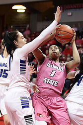 05 February 2016: Ashley Taia challenges a shot by Colleene Smith(1). Illinois State University Women's Redbird Basketball team hosted the Sycamores of Indiana State for a Play4 Kay game at Redbird Arena in Normal Illinois.