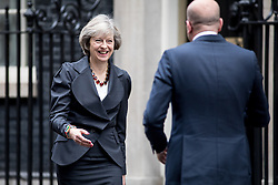 © Licensed to London News Pictures. 22/11/2016. London, UK. British Prime Minister Theresa May meets with the Prime Minister of Belgium, Charles Michel. Photo credit : Tom Nicholson/LNP