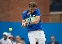 Tennis - 2017 Aegon Championships [Queen's Club Championship] - Day Four, Thursday <br /> <br /> Men's Singles: Round of 16 - Daniil MEDVEDEV (RUS) Vs Thanasi KOKKINAKIS (AUS)<br /> <br /> Danil Medvedev (RUS) with a back hand return at Queens Club<br /> <br /> COLORSPORT/DANIEL BEARHAM