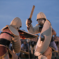 Aquileia, Italy - 17 June 2018: Gladiators fight during Tempora in Aquileia, ancient Roman historical re-enactment