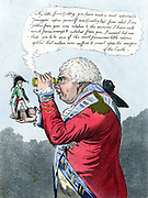 The King of Brobdingnag and Gulliver. James Gillray cartoon of July 1803 showing George III viewing a miniscule Napoleon. Hand-coloured engraving