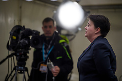 © Licensed to London News Pictures. 01/10/2017. Manchester, UK. Scottish conservative leader RUTH DAVIDSON seen during a television interview on the opening day of the Conservative Party Conference. There have been conflicts within the conservative party and government over the UK's approach to Brexit, which is expected to feature heavily at this years event. Photo credit: Ben Cawthra/LNP